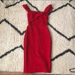 ASOS Red Strapless Dress size 4